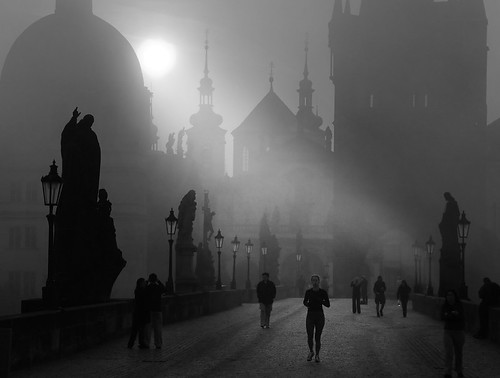 Prague autumn morning.