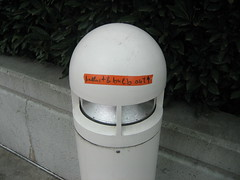 Lamp post with maintenance note or ghetto robot? You decide.