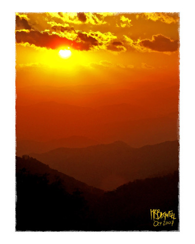 sunset mountains landscape waterfall scenery stream computerart cherokee blueridgemountains blueridgeparkway smokymountains easttennessee cadescove wnc giclee computerpainting westernnorthcarolina mkbagwell kellybagwell
