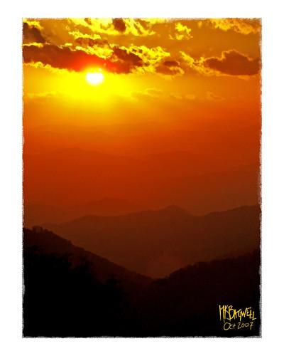 sunset mountains landscape waterfall scenery stream computerart cherokee blueridgemountains blueridgeparkway smokymountains easttennessee cadescove wnc giclee computerpainting westernnorthcarolina mkbagwell kellybagwell
