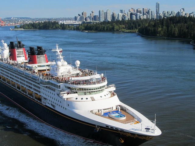 Disney Cruise Ship Wonder Leaving Vancouver En Route To