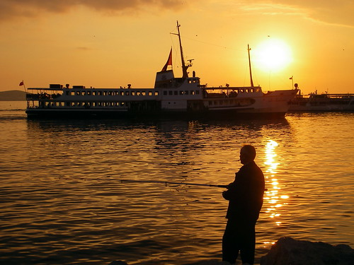 Sunset, Steamer & Fisherman