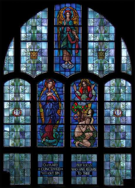 Immaculate Conception Roman Catholic Church, in Union, Missouri, USA - stained glass window, the New Eve.jpg