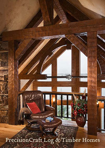 Loft with custom timber frame | Timber Frame Home | by PrecisionCraft Log & Timber Homes