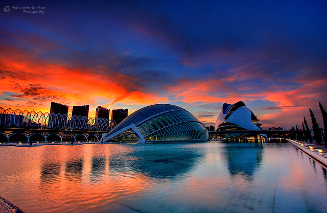 A blast of color over the City of Arts and Sciences