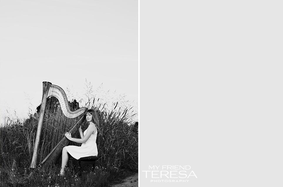 my friend teresa photography, cary academy senior, harp senior portrait