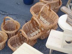 furniture, wood, table, wicker, basket,