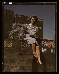 Annette del Sur publicizing salvage campaign in yard of Douglas Aircraft Company, Long Beach, Calif.  (LOC)