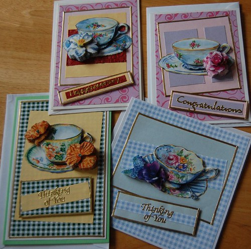 Teacups Set of Handmade Decoupage Cards