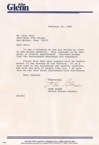 1984 John Glenn Signed Letter