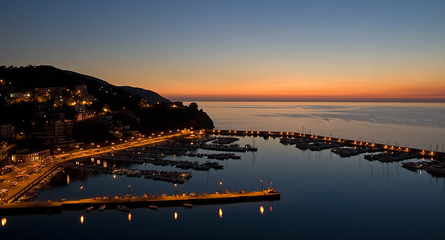 Agropoli port at night
