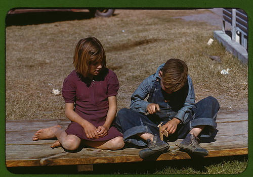 [Boy] building a model airplane [as girl watches], FSA ... camp, Robstown, Tex. (LOC)
