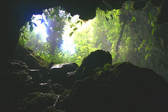 The ancient Mayans thought that the caves were the entrance to Heaven.  This cave extends 20 miles into the earth with a river that flows through it.  This is from right inside the entrance out witnessing the last amount of sunlight that we'd see for a few hours.