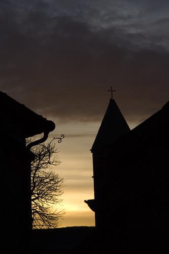 winter france silhouette sunrise taizé taizé200802