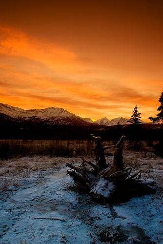 winter alaska sunrise tudor anchorage