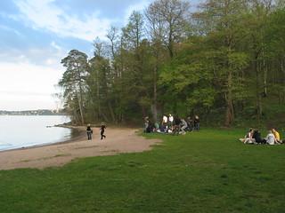 Image of Ekhagsbadet near Tranholmen. party green beach stockholm barbecue lappis