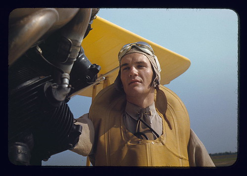 Marine lieutenant by the power towing plane for the gliders at Page Field, Parris Island, S.C.  (LOC)