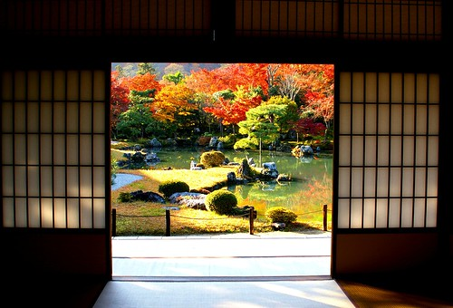 Traditional Japanese garden in autumn