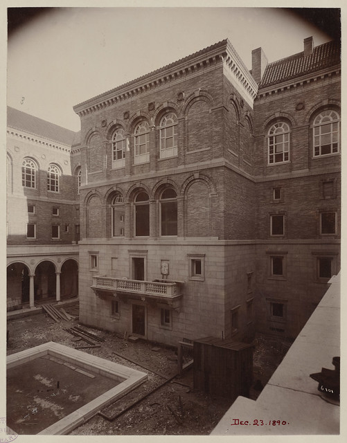 East wall of Courtyard, construction of the McKim Building