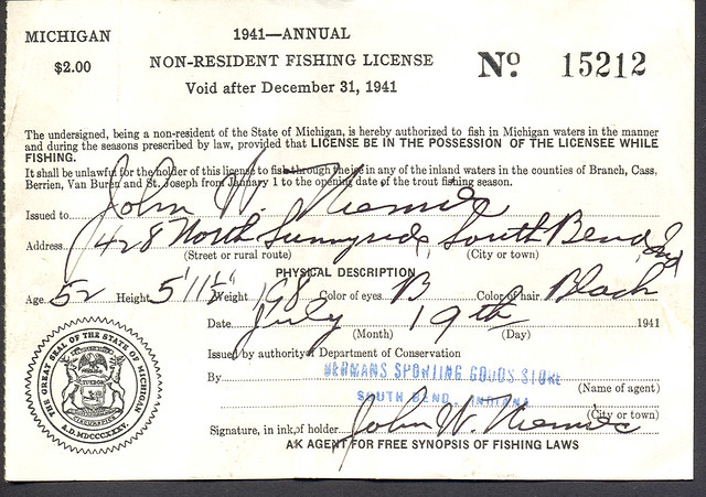 1941 michigan non resident fishing license flickr for Michigan non resident fishing license