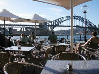 Cafe looking on the Harbour Bridge