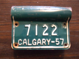 ALTA, CALGARY 1957  BICYCLE plate