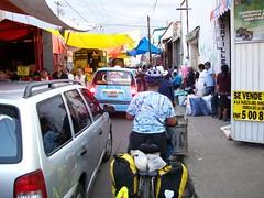 Nancy navigating traffic coming into Cholula