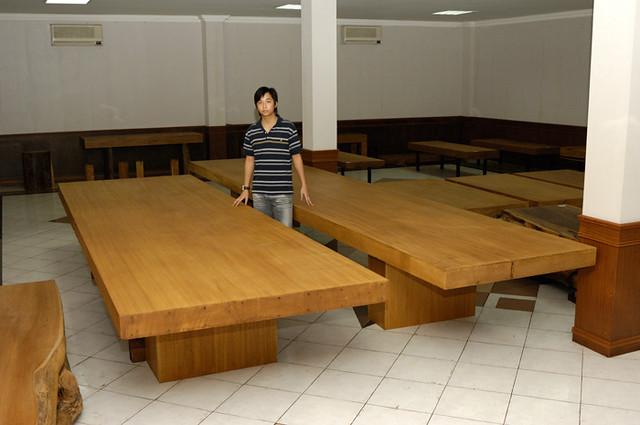 One Piece Solid Merbau Wood Dining Table L 550cm W
