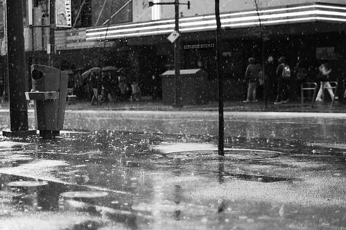 Granville street in the rain