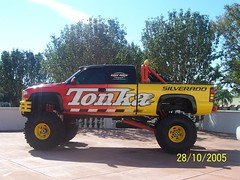 stock car racing(0.0), dirt track racing(0.0), off-roading(0.0), rally raid(0.0), auto racing(1.0), automobile(1.0), automotive exterior(1.0), racing(1.0), pickup truck(1.0), vehicle(1.0), truck(1.0), sports(1.0), off road racing(1.0), motorsport(1.0), monster truck(1.0), bumper(1.0),