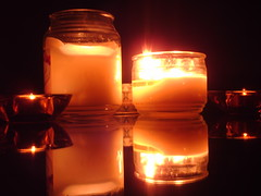 decor, flameless candle, yellow, light, flame, lighting,