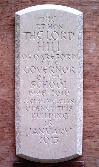Opening plaque. Portland stone