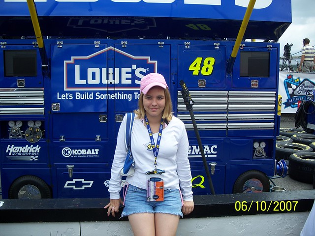 Aly in front of her fav. driver