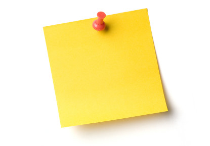 stickynote | Yellow sticky notes and push pin on white ...