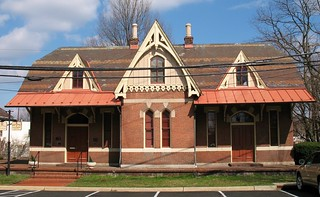 Image of Rockville Railroad Station. architecture buildings maryland rockville gothicrevival railroadstations montgomerycounty baltimoreohiorailroad borailroad borailroadstation efrancisbaldwin