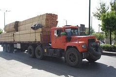 asphalt, commercial vehicle, vehicle, truck, transport, trailer truck, land vehicle,