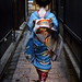 japan / blue / walking / japanese / girl / kimono / 日本