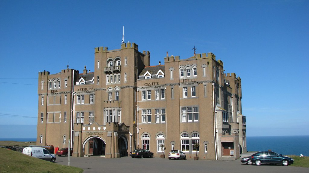 Camelot Castle Hotel, Tintagel - front view by day