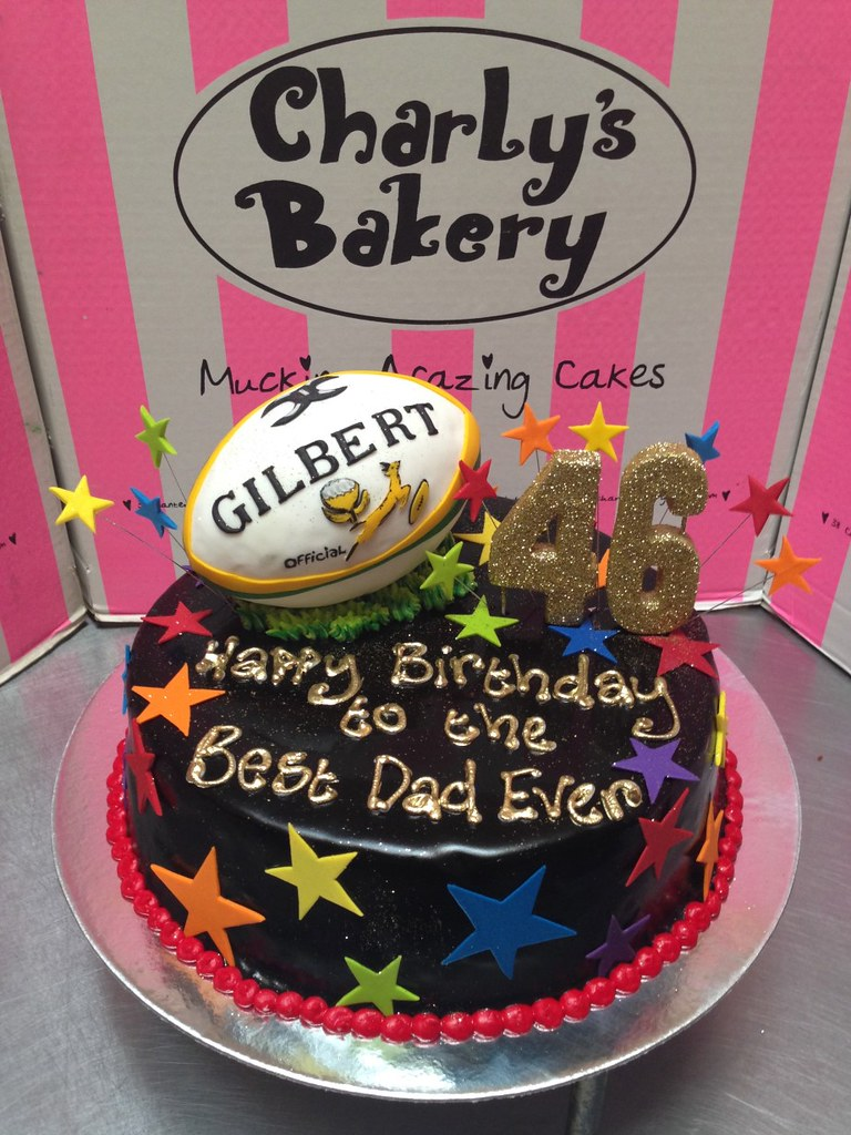 Wicked Chocolate Iced In Black Ganache 3D Fondant Rugby Ball Cake Topper Stars And