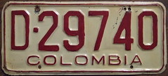 COLUMBIA license plate 1971-72