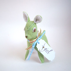 Minty the Pale Green, Wool Felt Fawn
