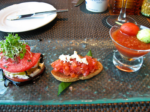 Dinner appetizer at the Ritz-Carlton Kapalua's Terrace: Local tomato trio.
