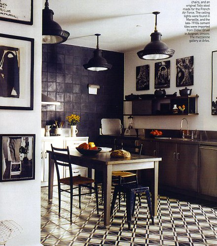 A black and white kitchen design