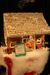 gingerbread house, red, gingerbread, christmas,