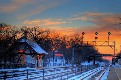 railroad winter sunset snow cold ice clouds train canon illinois colorful track rail ef50mmf14 signals metra hdr highdynamicrange 30d hinsdale photomatix