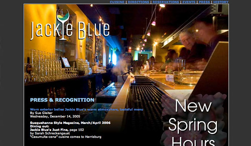 Jackie Blue Restaurant Web Site Design