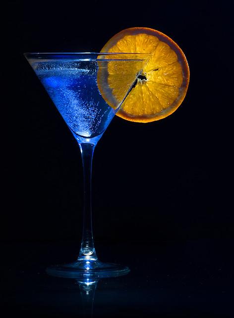 Blue'd Drink and Orange Slice
