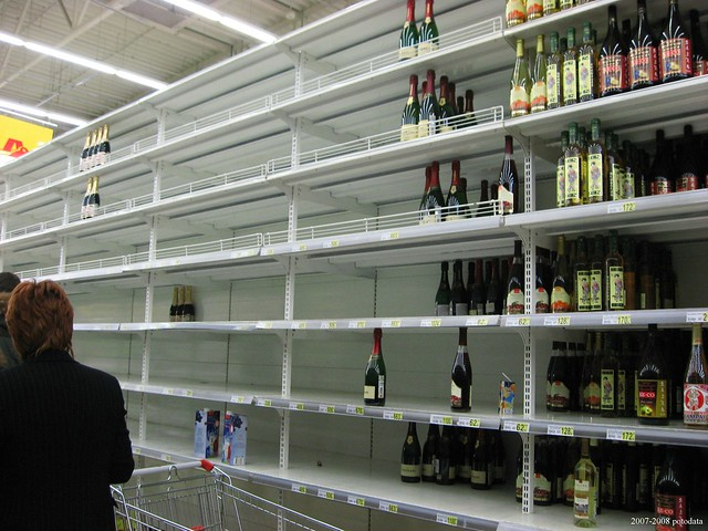 Russian empty shelves in stores