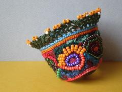 Old World - Garden Freeform Crochet / Embroidery Cuff
