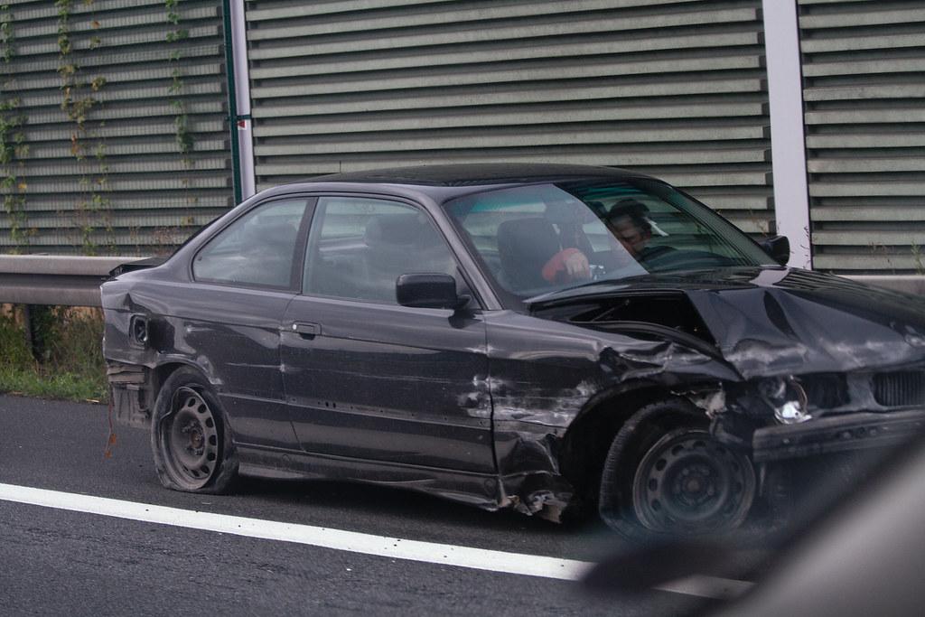 Car crash | Damaged BMW after crash on german freeway A2